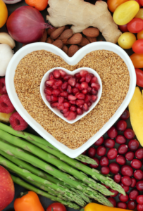 Nutritious food in the shape of a heart to promote good health for all.